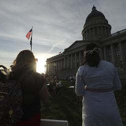 Protesters gather at the Capitol in Salt Lake City during a fast, march and prayer vigil for racial injustice on Sunday, June 14, 2020.