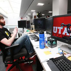 University of Utah graduate student Kenny Green works on a project in Salt Lake City on Wednesday, April 5, 2017. Utah and it's nationally ranked Entertainment Arts & Engineering video game development program announced Wednesday that it is forming the U.'s first college-sponsored varsity esports program.