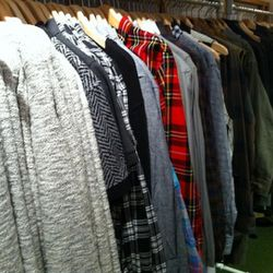 A view of the main menswear rack.