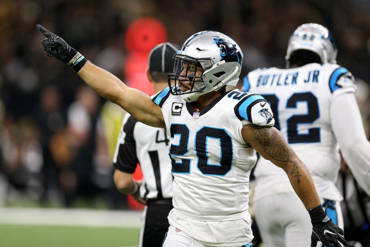 NEW ORLEANS, LA - Carolina Panthers safety Kurt Coleman (20) signals to his coaches on the sideline during the third quarter of an NFC Wild Card playoff game against the New Orleans Saints at the Mercedes-Benz Superdome.