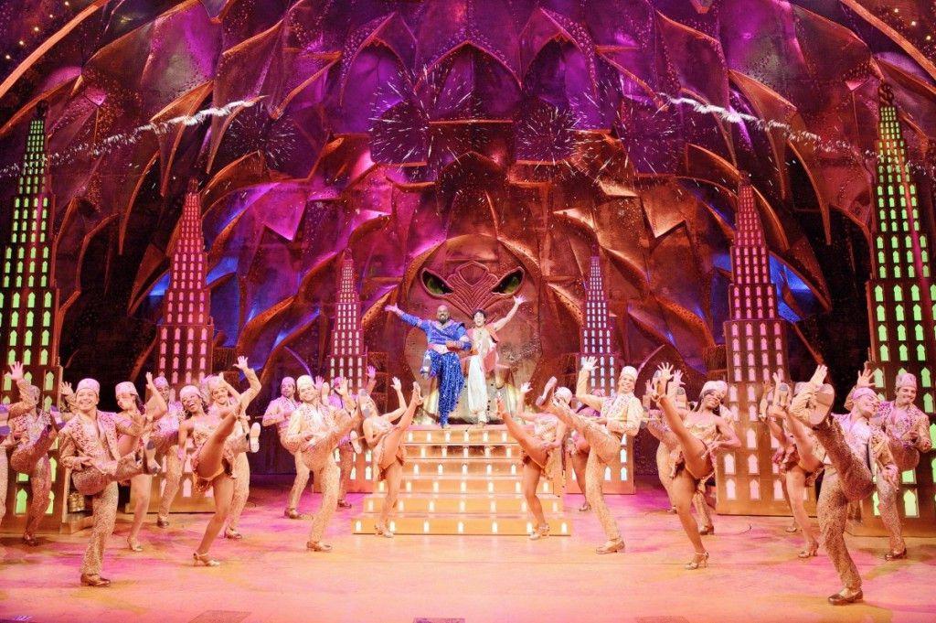 """James Monroe Iglehart and Adam Jacobs with the cast of Disney's """"Aladdin.""""   Deen van Meer Photography"""