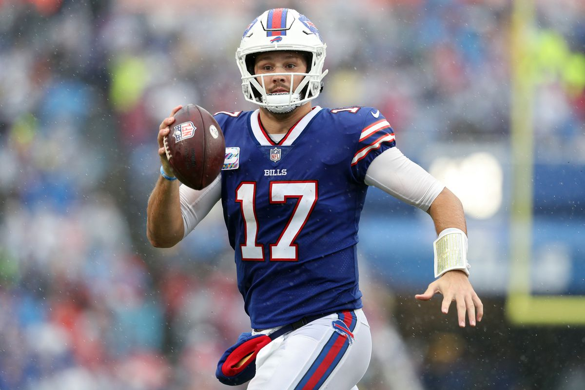 Quarterback Josh Allen #17 of the Buffalo Bills looks to pass against the Houston Texans in the fourth quarter at Highmark Stadium on October 03, 2021 in Orchard Park, New York.
