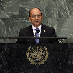 President Thein Sein of Myanmar addresses the 67th session of the United Nations General Assembly at U.N. headquarters Thursday, Sept. 27, 2012.