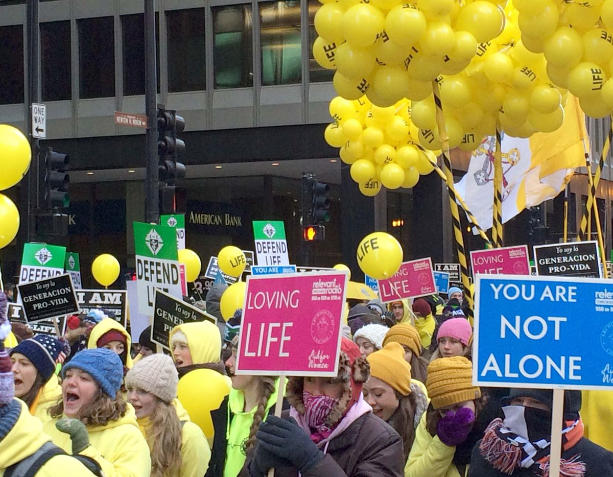 <small><strong> A crowd braved frigid temperatures Sunday to take part in the March for Life Chicago. | Jon Seidel/Sun-Times</strong></small>