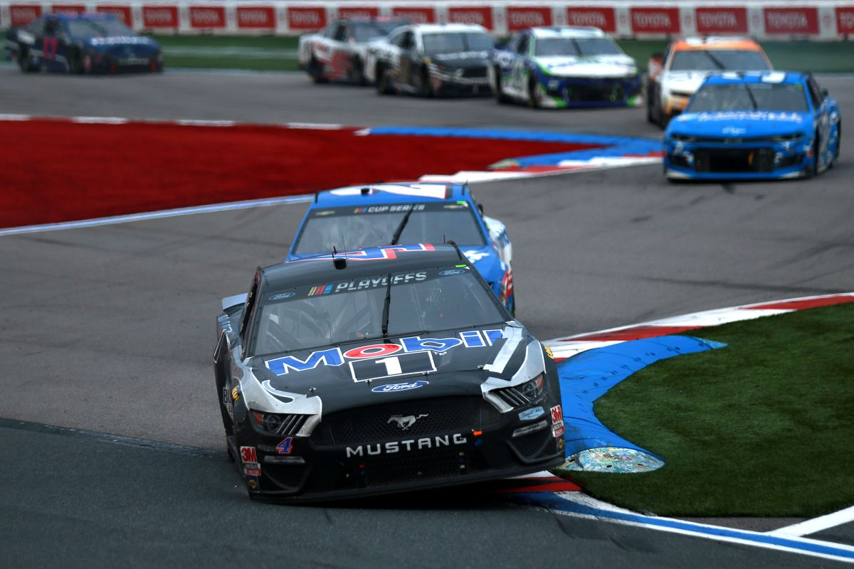 Kevin Harvick, driver of the #4 Mobil 1 Ford, drives during the NASCAR Cup Series Bank of America ROVAL 400 at Charlotte Motor Speedway on October 11, 2020 in Concord, North Carolina.