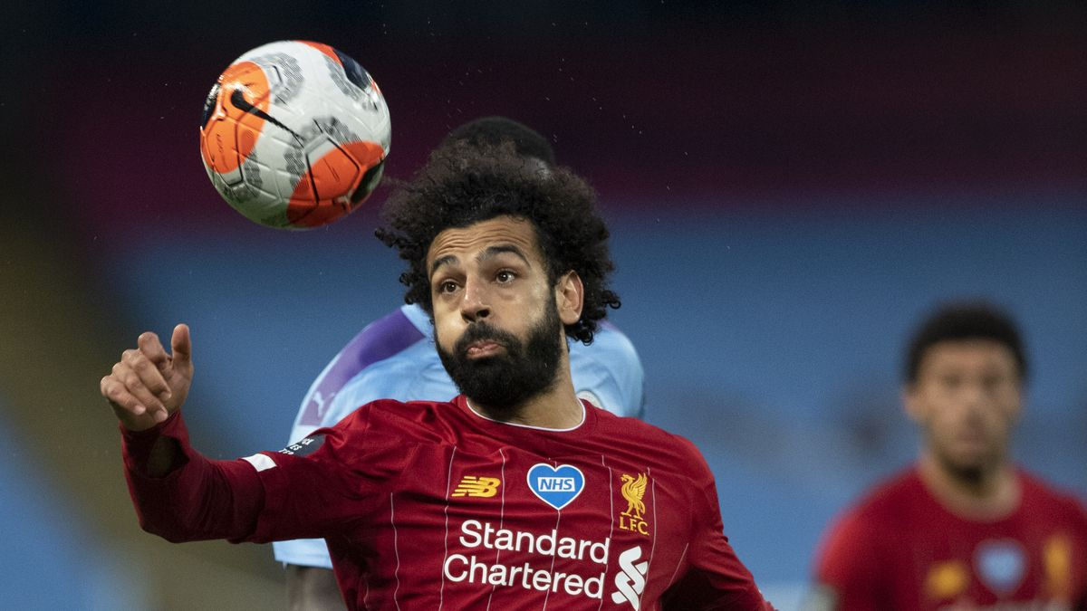 Mohamed Salah of Liverpool in action during the Premier League match between Manchester City and Liverpool FC at Etihad Stadium on July 2.