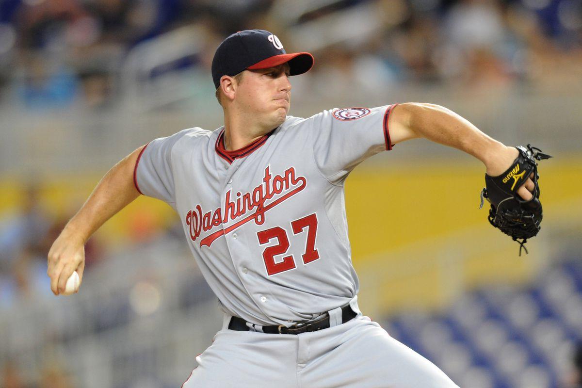 July 13, 2012; Miami, FL, USA; Washington Nationals starting pitcher Jordan Zimmermann (27) at Marlins Park. Mandatory Credit: Steve Mitchell-US PRESSWIRE