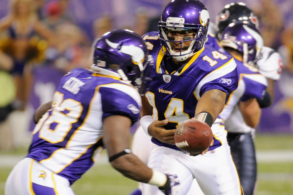 Take a good look. . .this may be the only picture that features Caleb King in a Vikings uniform that we ever use on this website. (Photo by Hannah Foslien/Getty Images)