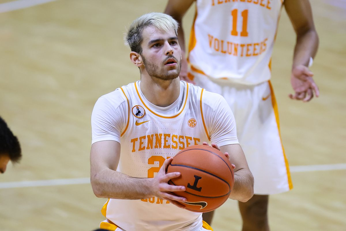 Tennessee Volunteers guard Santiago Vescovi shoots a free throw against the Mississippi State Bulldogs during the second half at Thompson-Boling Arena.