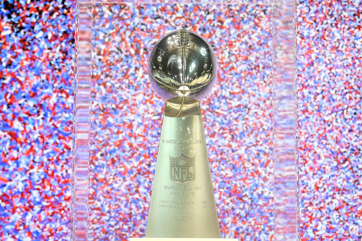 A general view of the Vince Lombardi Trophy during the second day of the 2020 NFL Scouting Combine at Lucas Oil Stadium on February 26, 2020 in Indianapolis, Indiana.