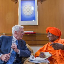 Elder D. Todd Christofferson, left, a member of the Quorum of Twelve Apostles for The Church of Jesus Christ of Latter-day Saints , interacts with Swami Agnivesh  a former member of Legislative Assembly, an Arya Samaj scholar and a social activist,   prior to attending an award ceremony at the MIT World Peace university, Pune, Maharashtra, India, on August 14, 2017.