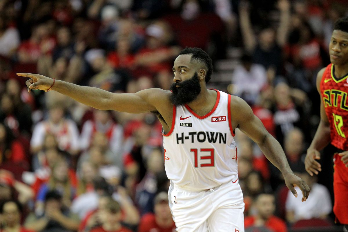 Houston Rockets guard James Harden celebrates after a made three-point shot against the Atlanta Hawks during the third quarter at Toyota Center.