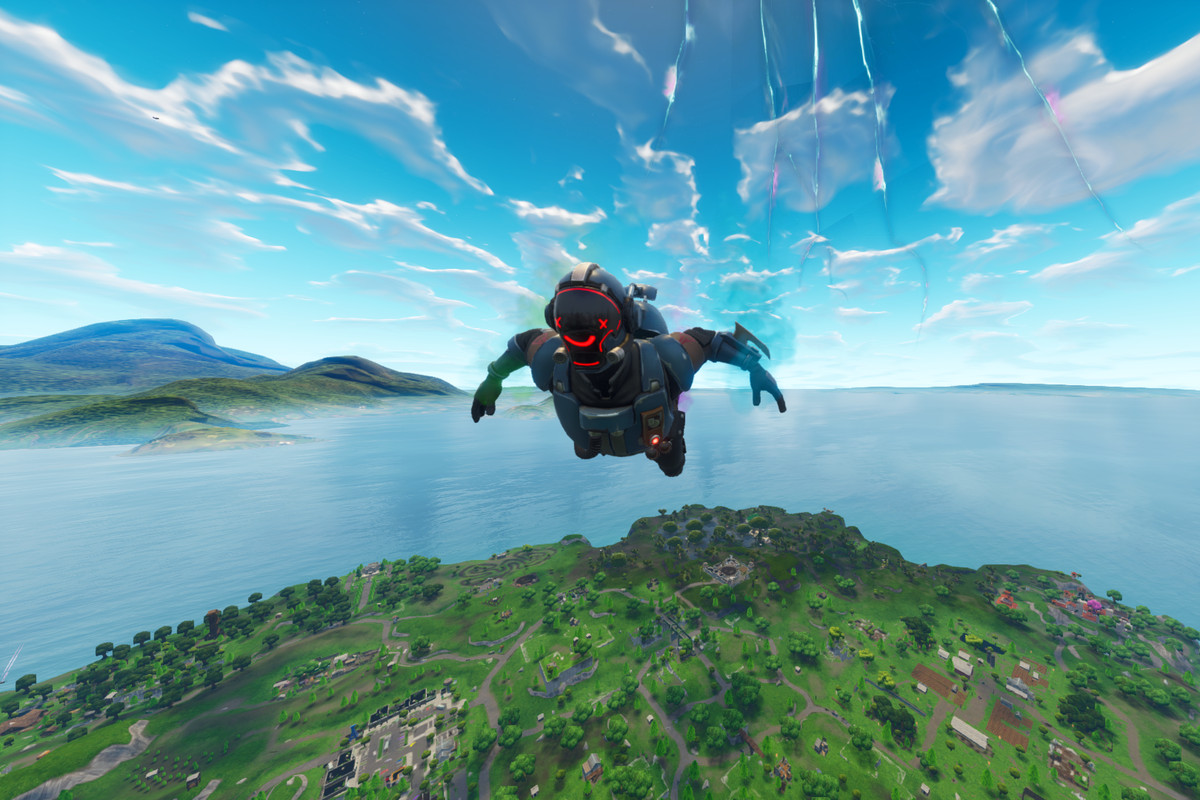 Fortnite - skydiving into the island