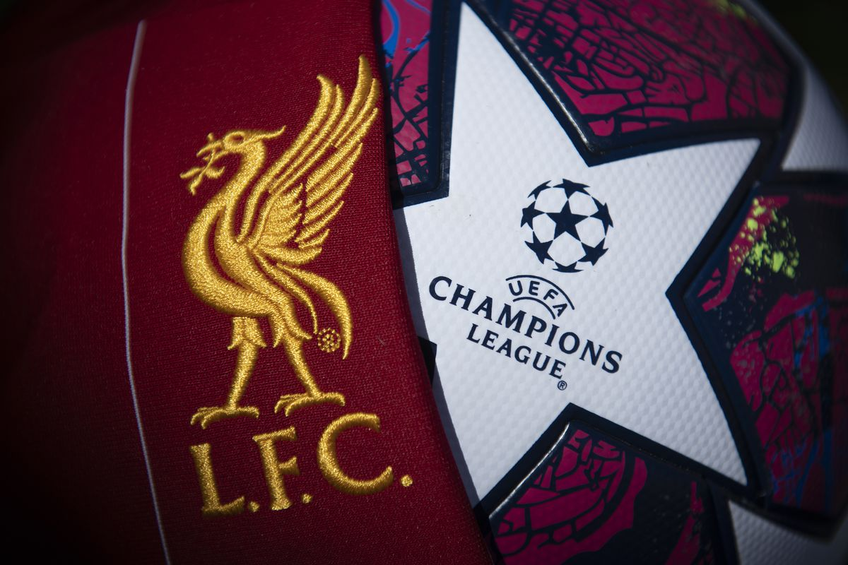 The Liverpool Club Crest with a Champions League Match Ball