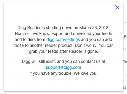 Digg Reader's notice to users that it's shutting down March 26
