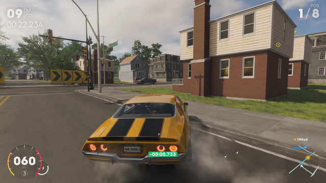 A sports car careens through the suburbs in a Papa John's-inspired race in <em>The Crew 2</em>.