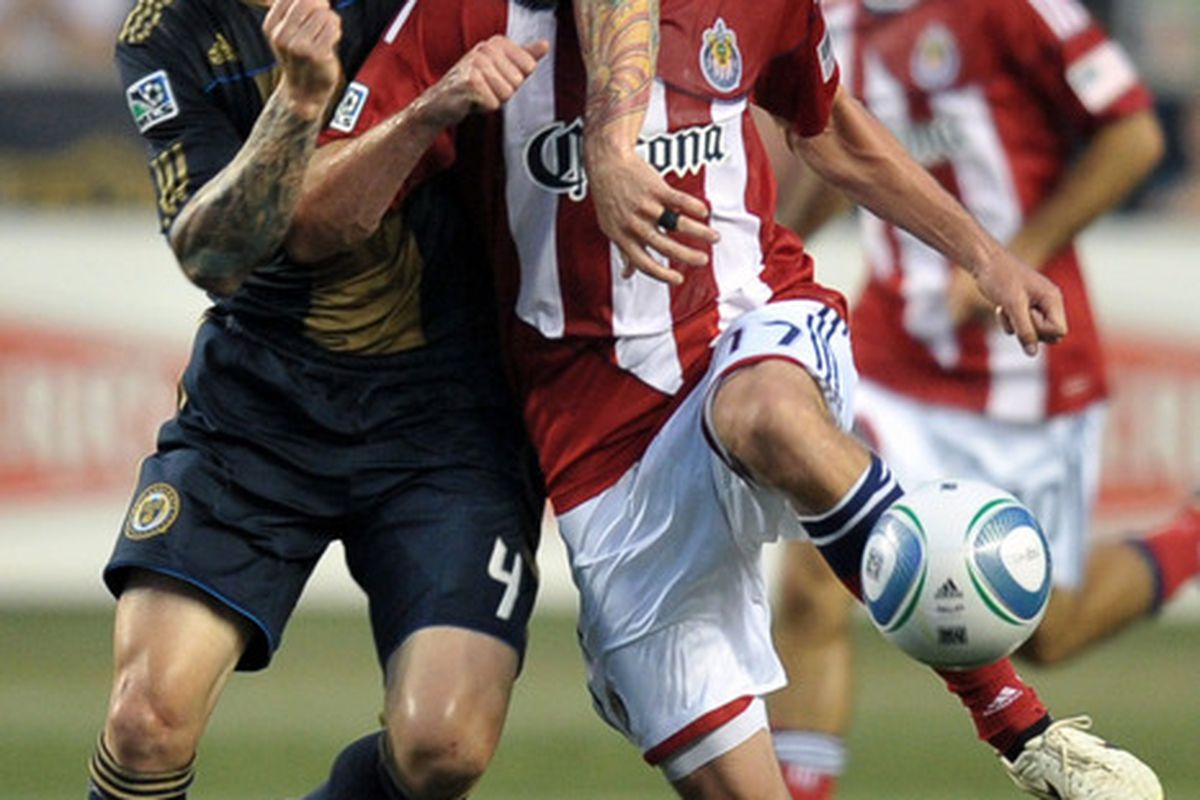 CHESTER, PA- JUNE 25: Califf: May or may not be coming to Chivas, according to Fraser and Domene (Photo by Drew Hallowell/Getty Images)