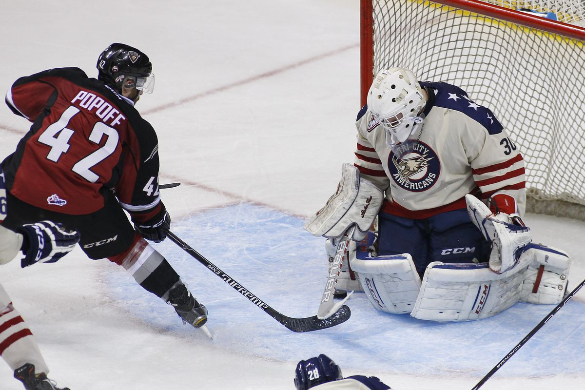 Goaltender Nick Sanders stopped 19 shots Sunday against Vancouver to earn his first career WHL victory in his second start of the season.