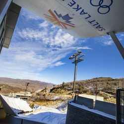 One of the starting gates on the luge and bobsled track at the Utah Olympic Park near Park City is pictured on Monday, Nov. 30, 2020.