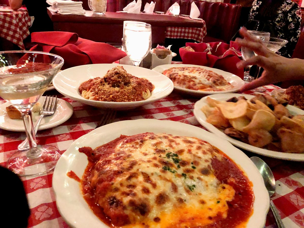 Veal parmigiana and other dishes at Dan Tana's