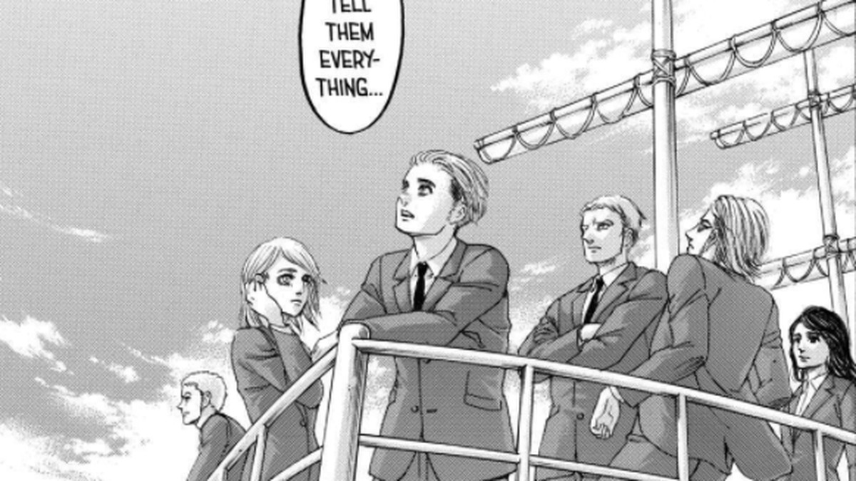 """Characters standing at the bow of a battleship, as one says """"Let's tell them everything,"""" in Attack on Titan, Kodansha (2021)."""
