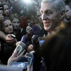 Former Utah Jazz Head Coach Jerry Sloan talks with the Media after he and the Utah Jazz hold a press conference Thursday, Feb. 10, 2011 at the Zions Bank Basketball Cener announcing the retirement of coach Jerry Sloan and assistant coach Phil Johnson.