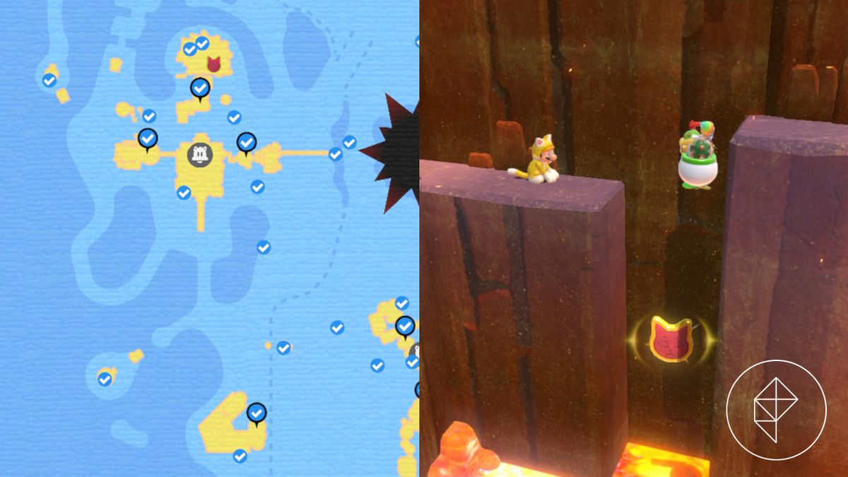 A map showing where to find a Cat Shine Shard above lava