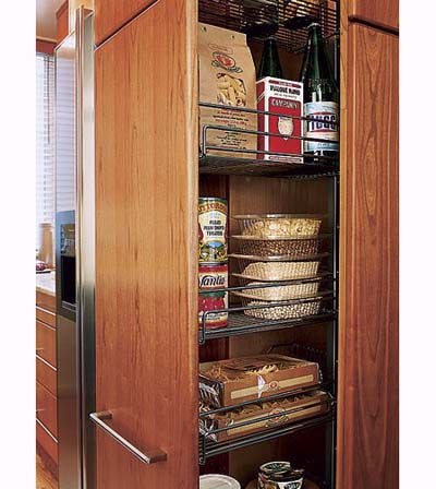 Pull out pantry with additional shelving space.
