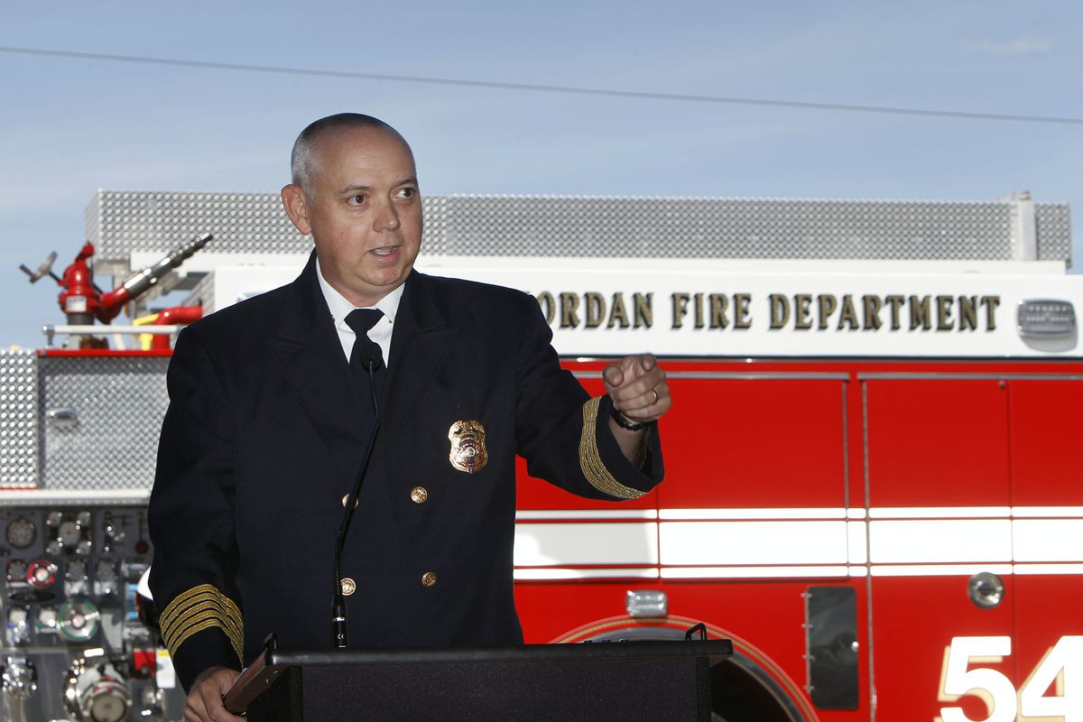 West Jordan Fire Chief Marc McElreath speaks at an open house for Station No. 54 on Thursday, April 30, 2015. McElreath announced on Thursday, Dec. 28, 2018, his retirement after 23 years in public safety.