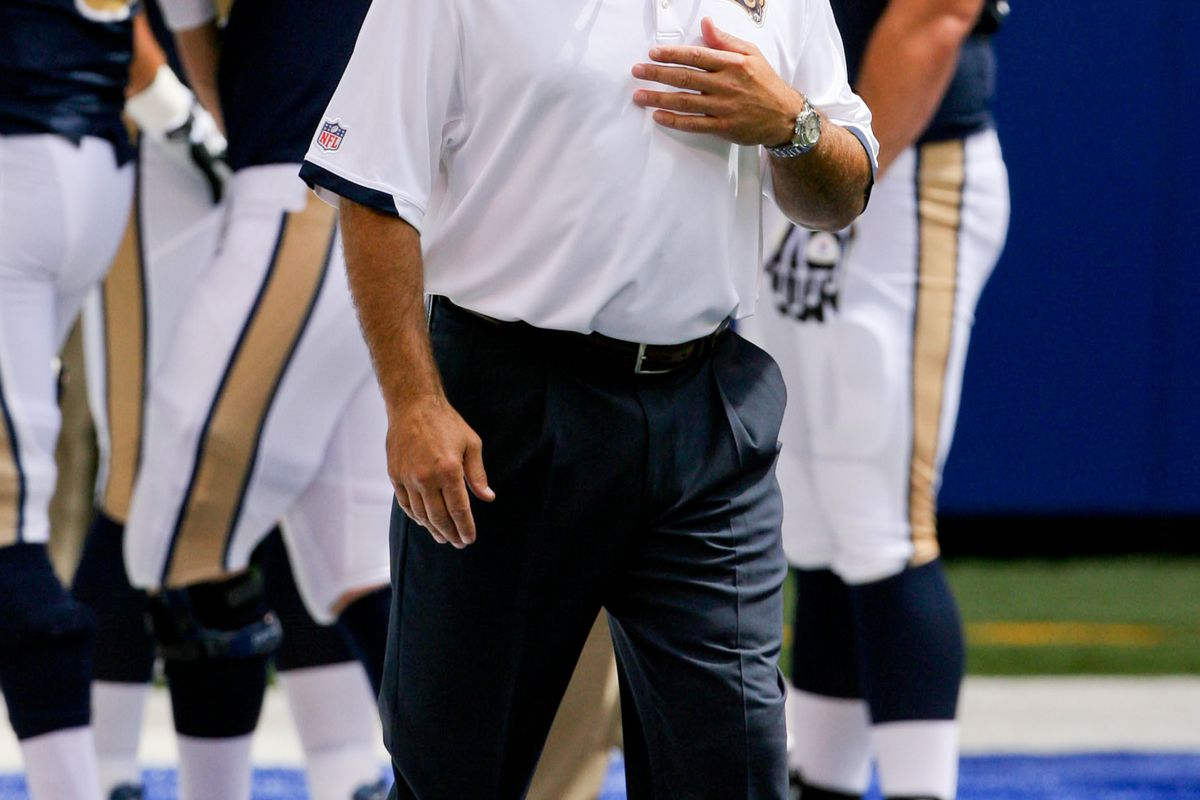 Aug 12, 2012; Indianapolis, IN, USA; St. Louis Rams coach Jeff Fisher watches the Rams warm up before the game against the Indianapolis Colts at Lucas Oil Stadium.  Mandatory Credit: Brian Spurlock-US PRESSWIRE