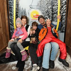 Actor Kevin Sorbo, second from right, and Sam, second from left, and family take a break amidst the hustle and bustle of  Sundance on Saturday Jan. 19, 2013, in Park City, Utah. Kevin and Sam Sorbo are the celebrity ambassadors for the upcoming Park City International Film Festival.