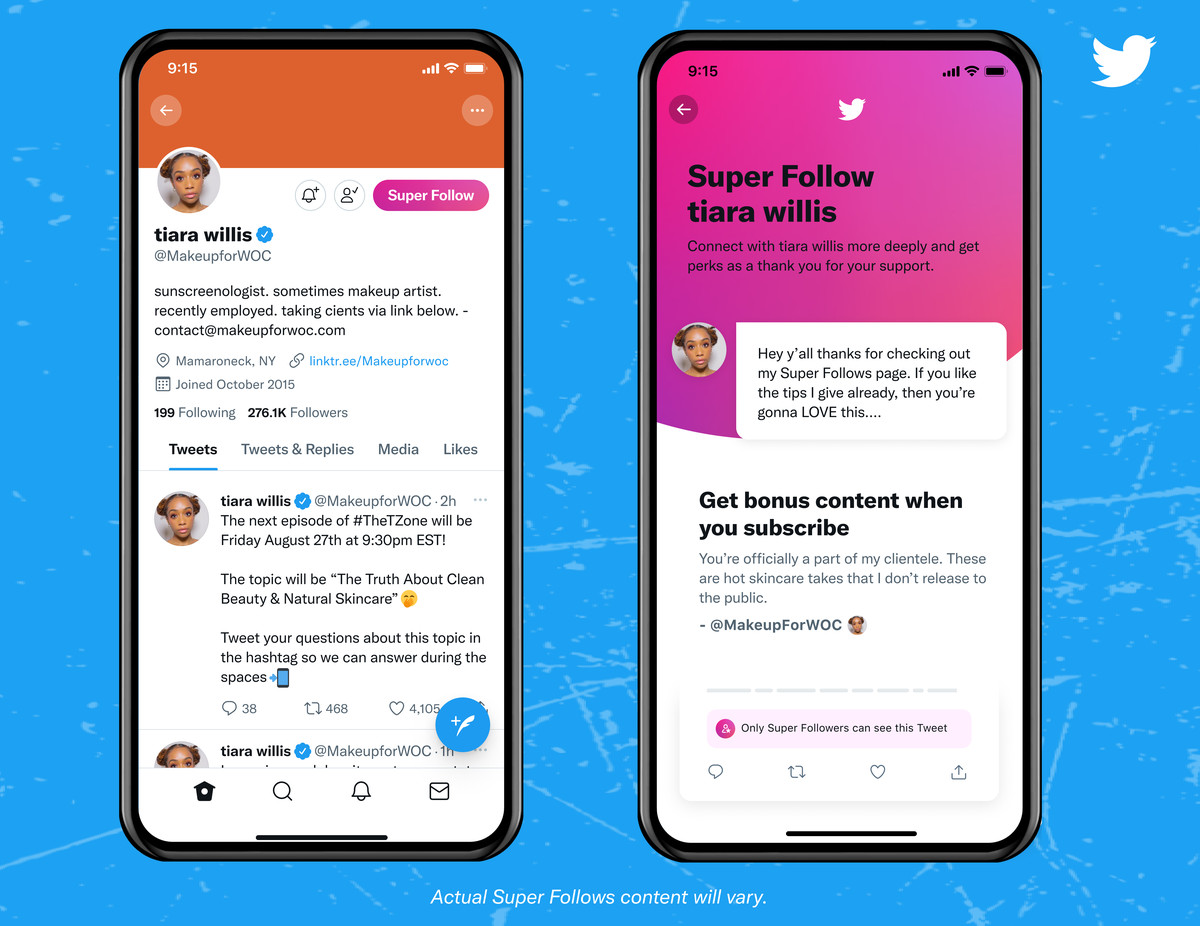 """A person's Twitter profile with a pink Super Follow button, and a subscription page saying """"get bonus content when you subscribe"""" with an example that the person will share skincare tips that they don't release to the public."""
