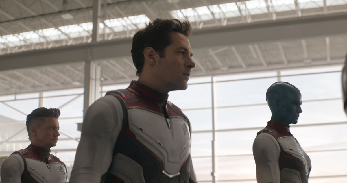 "Scott ""Ant-Man"" Lang (Paul Rudd, center) has the brainstorm about how to reverse Thanos' destruction in ""Avengers: Endgame."" | Marvel Studios"