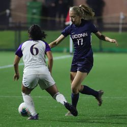 The East Carolina Pirates take on the UConn Huskies in a women's college soccer game at Dillon Stadium in Hartford, CT on September 26, 2019.