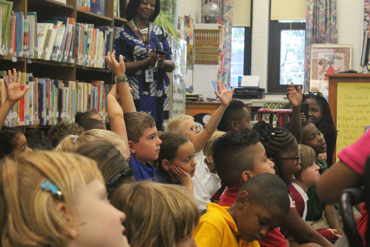 Students responded to questions from Ferebee during a visit to CFI School 27.