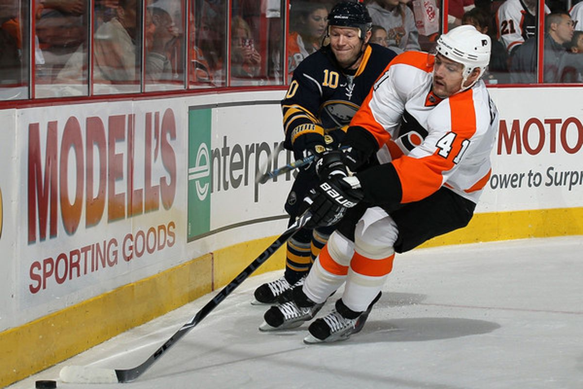 PHILADELPHIA - OCTOBER 01:  Andrej Meszaros #41 of the Philadelphia Flyers plays the puck against Mark Parrish #10 of the Buffalo Sabres on October 1 2010 at Wells Fargo Center in Philadelphia Pennsylvania.  (Photo by Jim McIsaac/Getty Images)