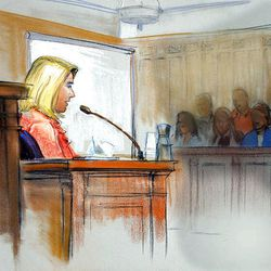 Artist's sketch of Elizabeth Smart during the Brian David Mitchell trial in Salt Lake City last month.