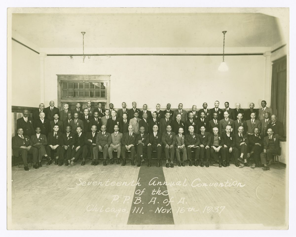 Group photograph of the Pullman Porters Benefit Association of America taken in Chicago to mark its annual convention in 1937.   Collection of the Smithsonian National Museum of African American History and Culture; gift of Kenneth Victor Young, in memory