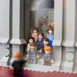 """Though they""""™re twice the scale of the temple, Jungheim used genuine mini-figs for the wedding entourage outside the temple. There are even a few familiar faces from the Harry Potter collection."""