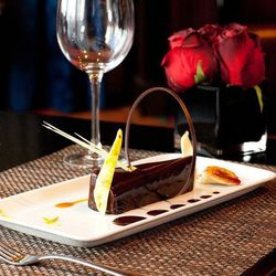 """Chocolate Log with """"Spiced"""" Dark Rum, Infused Banana and Cocoa Mousse"""