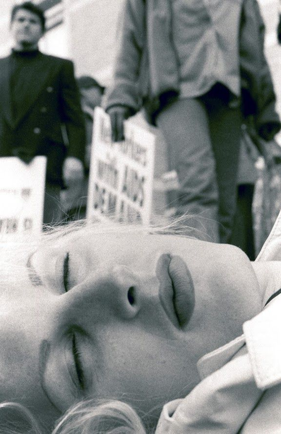 """Alice O'Malley, """"New Yorkers Demand""""—Chloe Dzubilo, ACT UP Die-in, NYC c. 1994. 