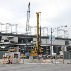 View of the ballpark from Clark & Waveland