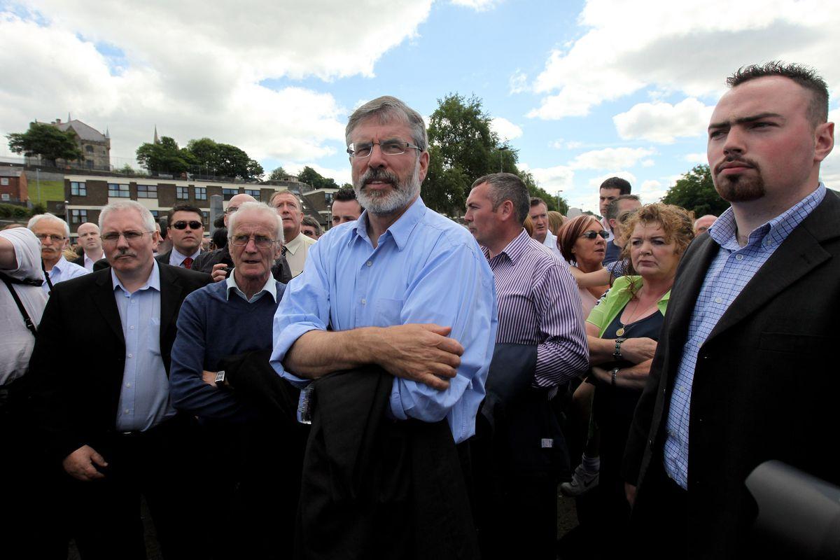 Gerry Adams, center.