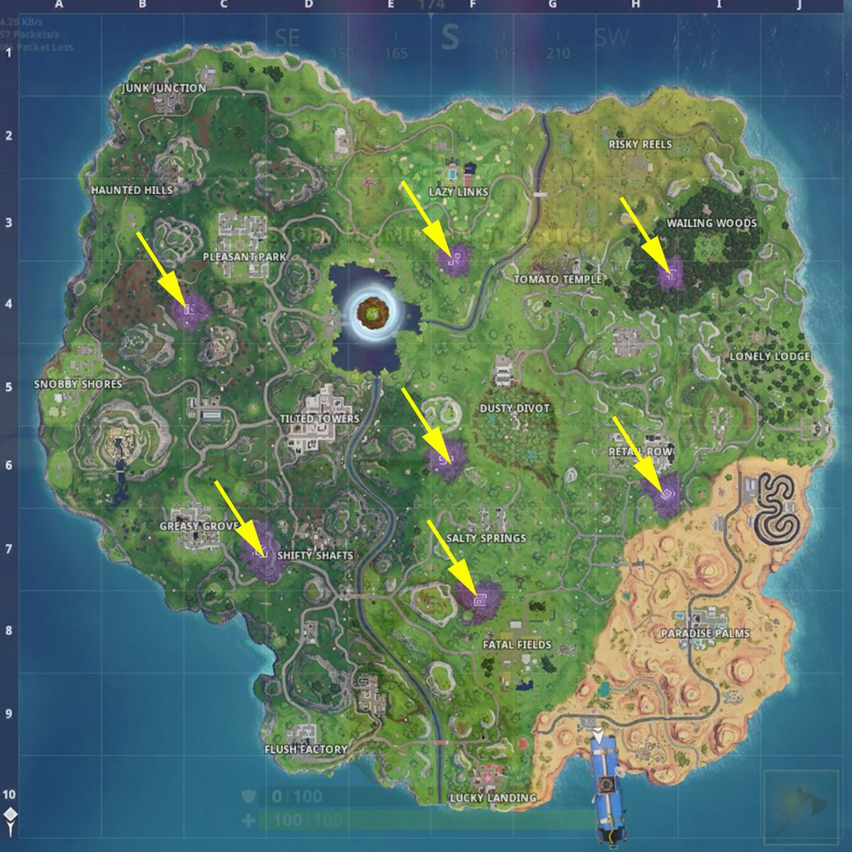 """Fortnite """"Visit all of the Corrupted Areas"""" challenge"""