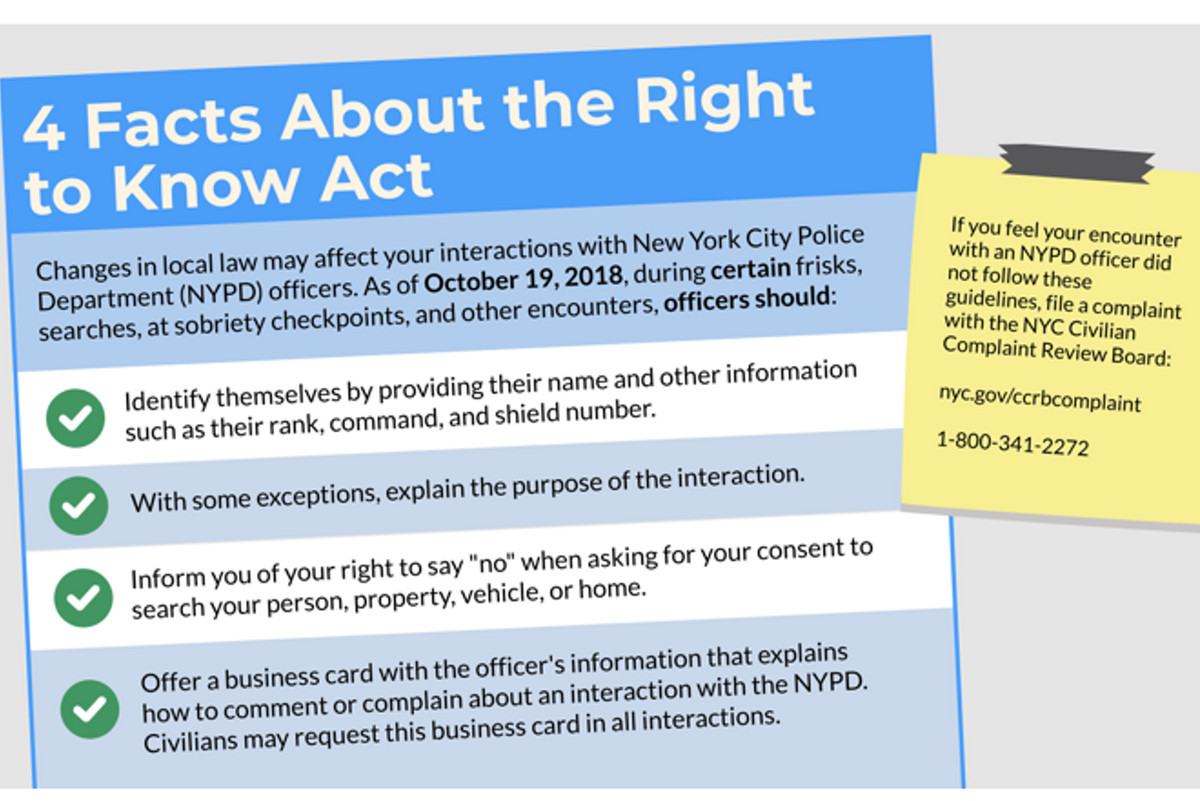 Information about the Right to Know Act, which went into effect in October