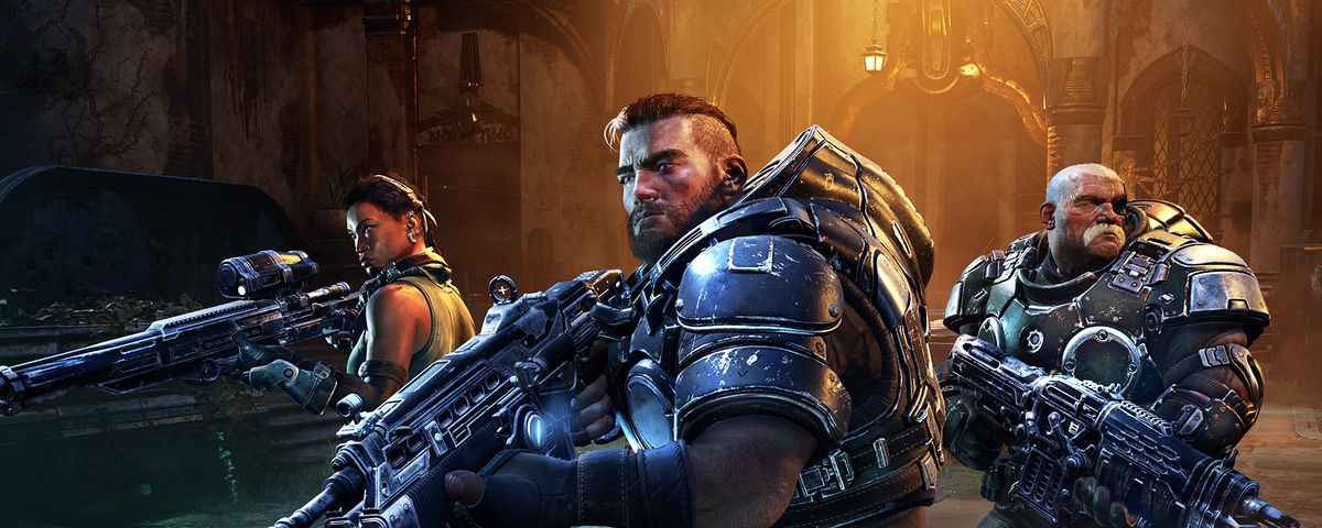 Sniper Mykala, Support Gabe, and Vanguard Sid — all main characters in Gears Tactics — take the battlefield during a cutscene. Smoke flows on the ground while yellow light blooms behind them.