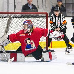 Metropolitan Riveters goaltender Katie Fitzgerald makes a save.