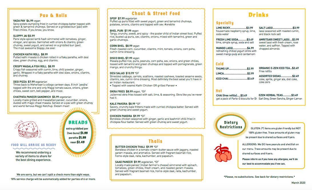 Lunch menu at Chai Pani in Decatur, GA
