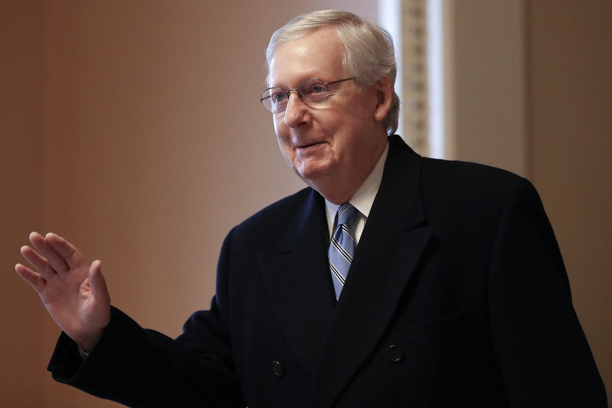 Senate Majority Leader Sen. Mitch McConnell (R-KY) walks to his office in the U.S. Capitol on January 24, 2020 in Washington, DC.