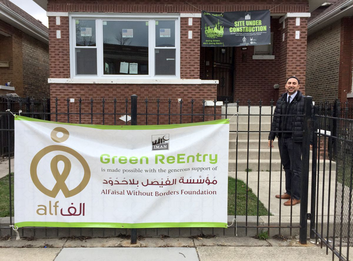 Rami Nashashibi at a Chicago Lawn home being rehabbed by the Inner-City Muslim Action Network's Green ReEntry program. | Neil Steinberg/Sun-Times